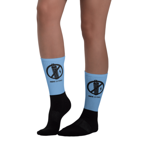 Blue and Black 100% Leg Power Socks - right side